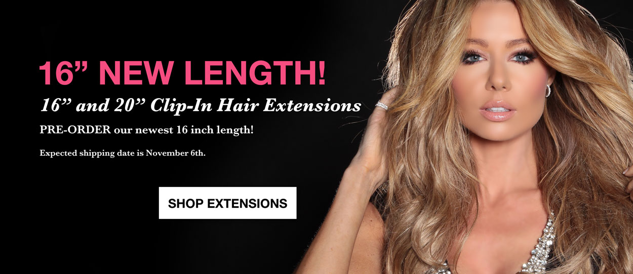 Shop best luxurious Cashmere Hair clip-in extensions that are the best human hair quality blonde, brown, and ombre Clips. Now offering new 16 inch lengths of hair extensions.