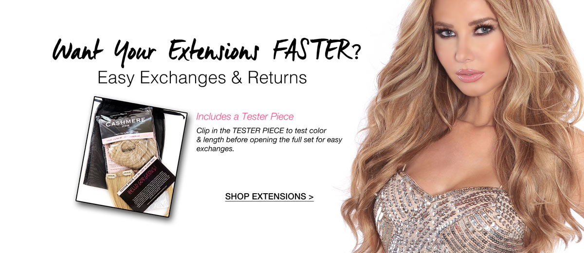 Easy Exchanges and Returns thanks to Cashmere Hair's New Packaging Design including a TESTER PIECE!