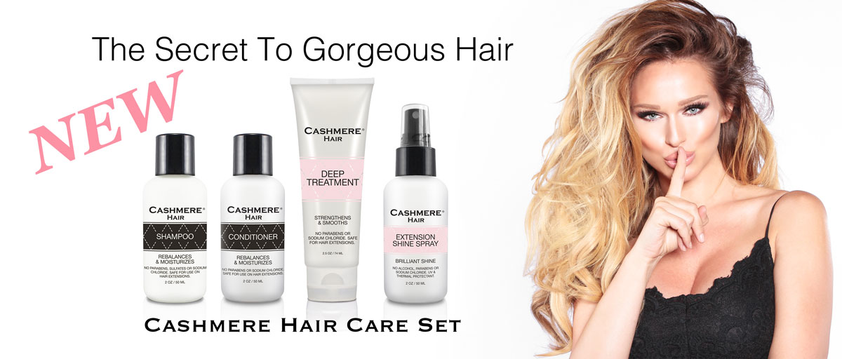 Shop new Cashmere Hair Care set for your 100% remy clip in extensions. The new Cashmere products are the best to keep your clip-in extensions looking new.