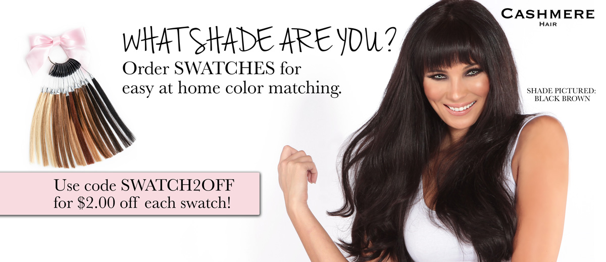 Color Matching with Swatches Clip in extensions- black brown hair