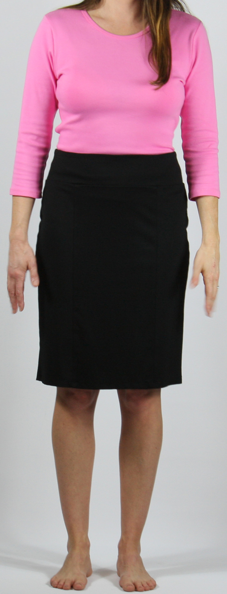 "Ponte knit straight 6-panel skirt, model is 5'8"" and wearing size small."