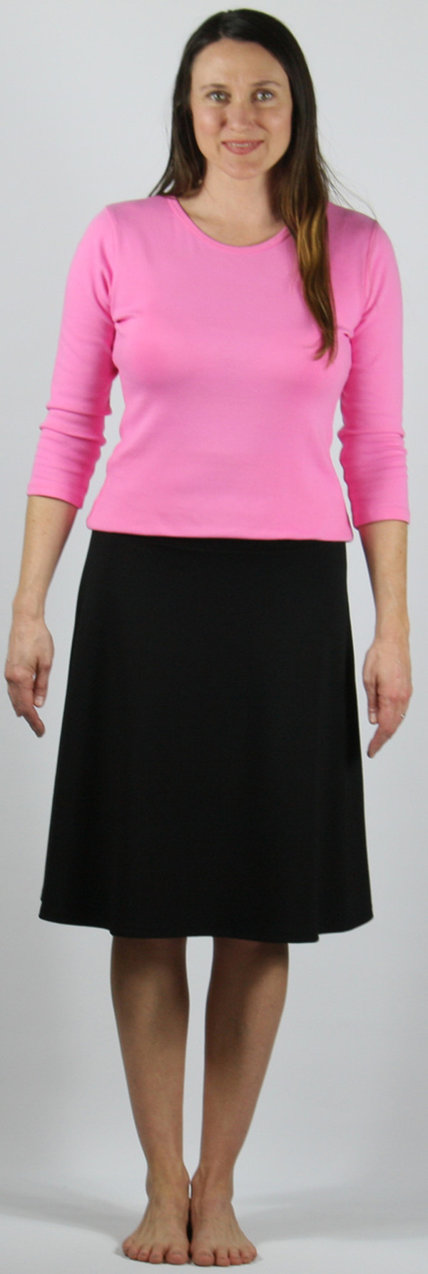 "A-line flippy skirt, ponte knit.  Model is 5'8"", wearing size small."