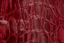 Crocodile Flank Skin Glazed Red
