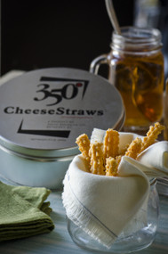350° CheeseStraws ™  Our Original Platinum Tin filled with 9.5 Ounces of Hand Baked, Hand Packed Cheese Straws
