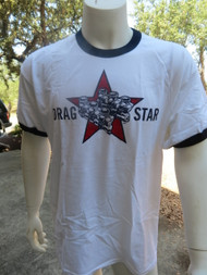 Drag Star image appears on front of ringer tee.
