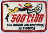 """500"" Club -500 Custom Steering Wheel by Superior Reproduction Embroidered Patch"