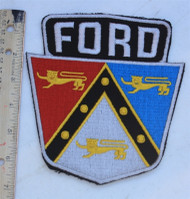 "Vintage NOS 1950's Embroidered FORD Shield Patch A large 6 3/4"" x 6"", these are made the good old fashioned way - ""to last"". The quality is amazing. They have a small amount of sticky that should be ironed on when they have been sewn onto a garment."