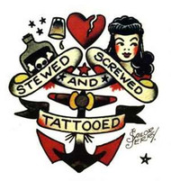 """5"""" x 4 1/2"""" Sailor Jerry Clear Sticker featuring cool Stewed Screwed and Tattooed illustration"""
