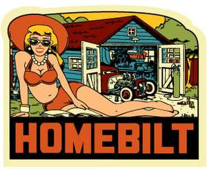 """A sexy prime show venue, west of the Rockies sticker: 4"""" of vivid 1950's travel color featuring HOMEBILT"""