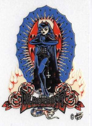 """The Black Rose with snake tattoo style clear vinyl sticker. 2.75"""" x 3.5"""""""