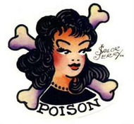 """4"""" x 4"""" Clear Sailor Jerry Sticker featuring POISON Girl with Cross Bones"""