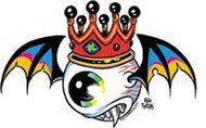 "Flying Eyeball with crown vinyl sticker from Forbes. 5.5"" x 3.5"""