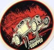 """Norwell Equipped - Devil/Flames Sticker from hot rod artist Jeff Norwell 4"""" x 4 1/2"""" vinyl with peel off backing Nice thick quality decal."""