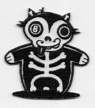 8-ball eyed cat Skeleton Patch