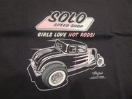 """Girl's Love Hot Rods"" 32 Ford Solo Speed Shop Woman's Tee"