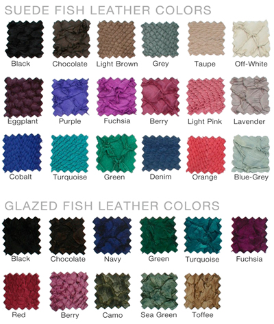 Fish Leather Color Option Swatches