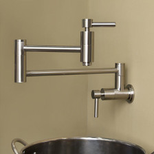 Modern Retractable Double Joint Spout Wall Mount Pot Filler Polished Chrome Close Up View