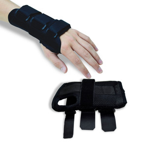 Black Carpal Tunnel Wrist Braces/Supports Front view With Hand fingers Close Up View