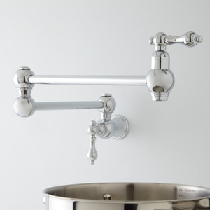 "21"" Classic Retractable Double Joint Spout Wall Mount Pot Filler Polished Chrome"
