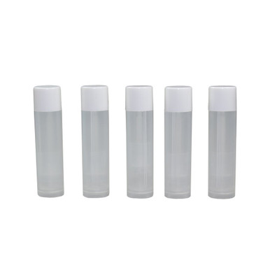 Houseables 25 Lip Balm Container Tube Empty Natural Clear w/ Cap 5.5 ML - Front View