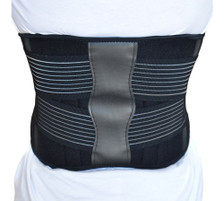 Back Support Brace Belt Lumbar Lower Waist Double Adjust- L, Back View