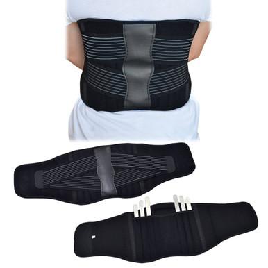 Back Support Brace Belt Lumbar Lower Waist Double Adjust- XL, Close Up View