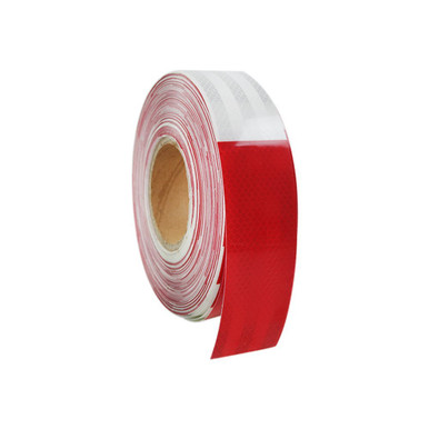 "2""x150' 3M Red/White Reflective Safety Warning Conspicuity Tape Sticker Roll Side View"