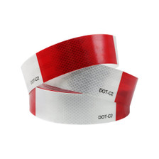 "2""x150' 3M Red/White Reflective Safety Warning Conspicuity Tape Sticker Roll Stack View"