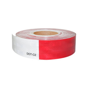 "2""x150' 3M Red/White Reflective Safety Warning Conspicuity Tape Sticker Roll Actual Size"