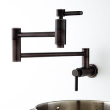 "21"" Modern Retractable Wall Mount Pot Filler Oil Rubbed Bronze - Rear View"