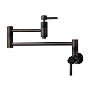 "21"" Modern Retractable Wall Mount Pot Filler Oil Rubbed Bronze - Front View"