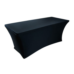 Black 6 ft Rectangle Spandex Stretch Table Cover Fitted Tablecloth