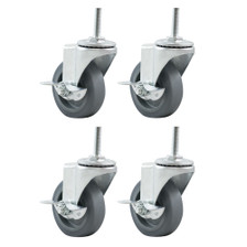 Caster Wheels Set of 4 - Side View