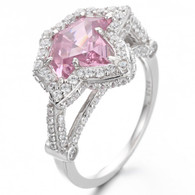 Vintage Pink Sapphire and Diamond Ivy Ring
