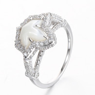 Vintage Shell Pearl and  Diamond Ivy  Ring