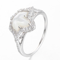 Split Band Shell Pearl Ivy and Diamond Ring