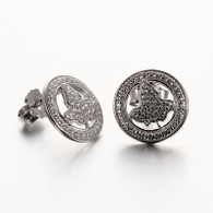 Demure and unique, these petite circle and ivy shape earring are stunning. These sterling silver earrings are finished with posts and push backs for pierced ears.