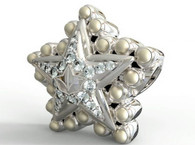 Silver Star Diamond and Pearls Bead Charm