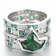 Stacked Emerald Ivy and Diamond Rings