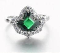 Emerald and Round Diamond Ivy  Ring