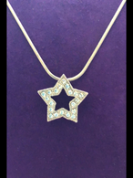Small open Crystal Silver Star