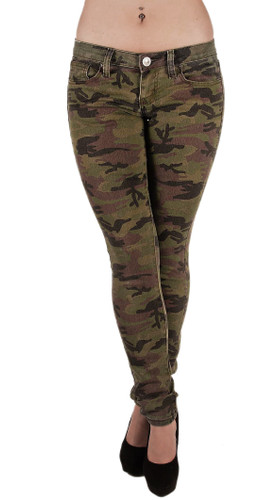 5027X - Women's Plus Size Classic 5 Pockets Camouflage Skinny Jeans