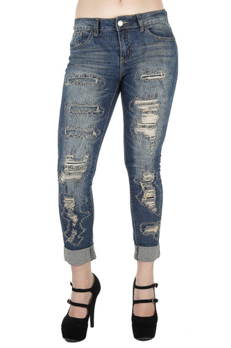 Style 6970AN - Destroyed Rip and Repair Premium Roll-Up Boyfriend Fit Capri