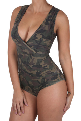 BD-8514-AM - Women's Sexy V-Neck, Sleeveless, Camouflage, Jumpsuits Bodysuit