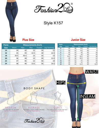 K157P - Plus Size, Butt Lifting, Levanta Cola, High Waist Sexy Skinny Jeans