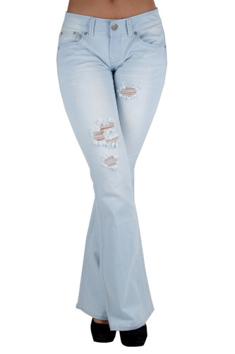 80001(S) - The Sexy Flare by Fashion2Love, Ripped Premium Flare Jeans
