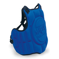 "Molded, contoured chest guard with hidden trauma plate protection during sparring. Hidden trauma shield to disperse impact for better protection. Lightweight, comfortable to wear and does not restrict movement. Just 1 1/2"" thick for better mobility, weighs just 1 1/2 lbs. Available in Blue and Red. Youth chest protector sizes available."