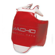 The Macho Competition Hogu for Taekwondo meets or exceeds the necessary tournament requirements for safety. Contoured design for better mobility and minimized shifting while sparring. Modified, contoured shape enables freedom of movement without compromising safety. Competition Hogu chest protector safeguards top of shoulder. Wrap around design provides coverage to kidney area. Reversible red and blue design.