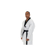 Made of durable poly/cotton (7 oz.) fine fabric with the lowest price ever seen for a lightweight white v-neck Tae Kwon Do Uniform.