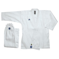 Light weight. Approved by WKF for International Tournament use. 55% Cotton 45% Polyester. Pants with elastic waist and drawstring, also full-length guesset for full kicking. With reinforced stitching through-out; on cuffs, jacket straps & on lapel. Embroidered Adidas logo on the back, chest and Patch on left shoulder. No stripes on shoulders. Special woven light weight material. Excellent for all stages of traning, from the beginer to the expert. • Tournament Cut. • Color: White. • Material: 55% cotton/45% polyester. • Size: 0-7 • Belt is not included.